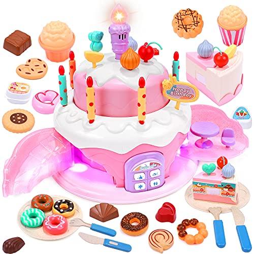 Geburtstagstorte Spielzeug  - Toyssa Geburtstagstorte mit Schokoladen-Donuts Kekse Kerze Plastikbesteck