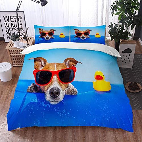 Qinniii Bedsure Funda Nórdica,Jack Russell Dog en un colchón en The Ocean Water en The Beach Summer con Gafas de Sol Rojas,Fundas Edredón 240 x 260 cmcon 1 Funda de Almohada 40x75cm