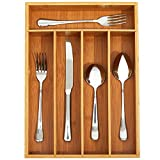 Diahom Silverware Drawer Organizer Bamboo Utensil Cutlery Tray Dividers 5 Compartments Kitchen Hardware Flatware Storage