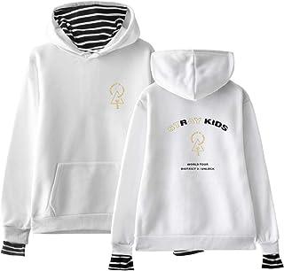 Xsayjia KPOP Stray Kids Unisex Maglione Moda Felpe con Cappuccio Fake Due Pezzi Sweatshirts Manica Lunga Tops Bang Chan Ch...