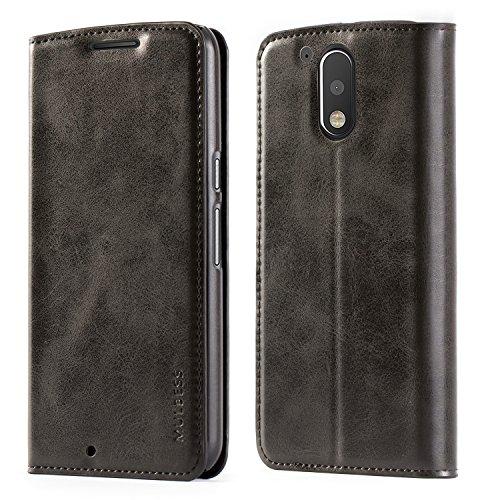 Mulbess Funda Motorola Moto G4 Plus [Libro Caso Cubierta] Slim de Billetera Cuero de la PU Carcasa para Motorola Moto G4 / G4 Plus Case, Negro