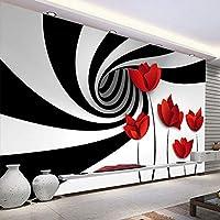 カスタム 3D 写真壁画壁紙花黒、白抽象スペースストライプアート壁画現代のリビングルームのテレビの背景の壁,400(W)×280(H)Cm