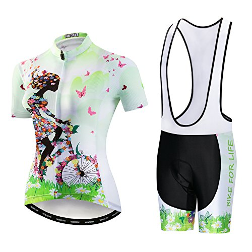 Women's Cycling Jersey Short Sleeve with Gel Padded Bib Shorts Quick-Dry Shirts Bike Clothes Set Girl Riding a Bicycle Green Size XL