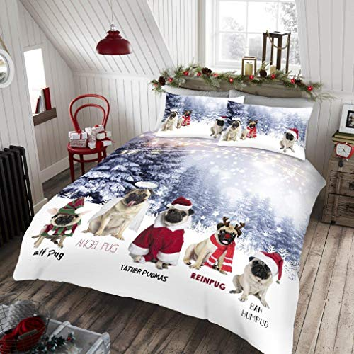dl Christmas Duvet Cover Quilt Bedding Set With Pillow Case Xmas Angel Pug Polycotton King Bed Size, Angel Pug
