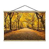 Bilderwelten Imagen de Tela - Autumn In Central Park - 53.5cm x 80cm, Material: Roble
