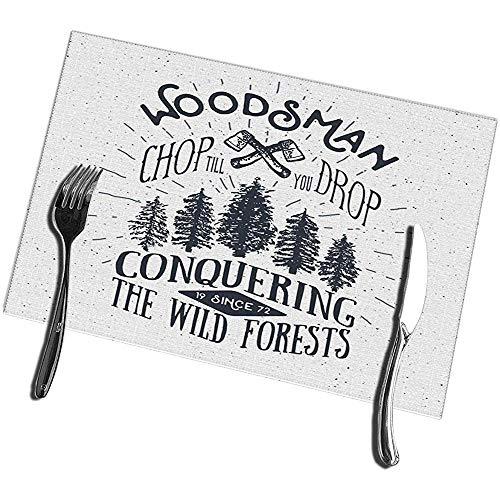 sunnee-shop Napperons de Table à Manger Ensemble de 4 Arbres à Deux Axes Grunge à la conquête des forêts Sauvages