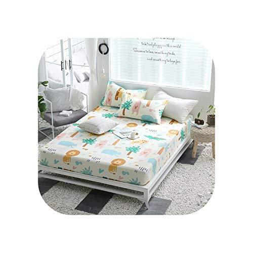 Fiery Tulip Bettgarnituren 1 Stück Baumwolldruck Bettmatratze Set mit Vier Ecken und elastischen Bandblättern-jimileyuan-80X200X25cm