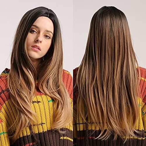 Peruca sintética castanho loiro com ondas longas, perucas naturais do dia a dia para mulheres, peruca de cabelo resistente ao calor para cosplay