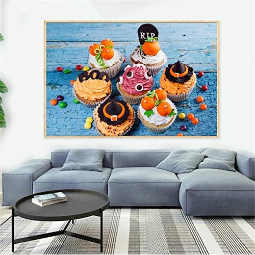 Pintura en Lienzo Pintura en Lienzo con Pan de Comida Divertida decoración de Cocina Cuadros de Pared Halloween Truco o Trato decoración de habitación para niños Carteles nórdicos