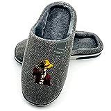 Zapatillas de Mujer Hombre Pantuflas Cálidas de Invierno Cosplay Anime Japonés para ONE PIECE Monkey D. Luffy Zapatos de casa Suela antideslizante suave para interiores exteriores,Gris,42/43 EU 28cm