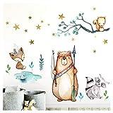 Little Deco Wandaufkleber Fuchs Bär Indianer I 97 x 74 cm (BxH) I Wandtattoo Kinderzimmer Waldtiere Pfeil Bogen Junge Babyzimmer Wandsticker Baby Bilder DL206-6