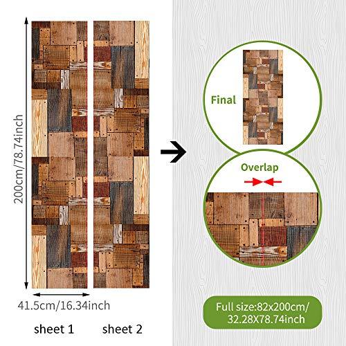 koigjh Renovierte Türaufkleber Balkonglas Wasserdicht Antifouling Kreative Spleißsimulation Holz Eingang Wandaufkleber