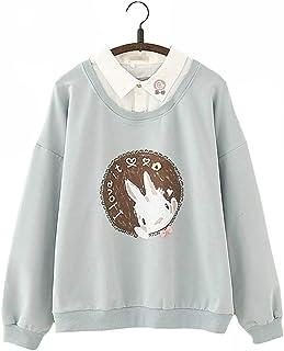 Ulzzang Niña Adolescente Sencillo Todo Blanco Linda Conejito Conejo Impresión Diseño Kawaii Pequeña Collar Detalle Cálido ...