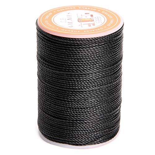 FANDOL Waxed Polyester Cord Wax-Coated Strings Waterproof Round Wax Coated Thread for Braided Bracelets DIY Accessories or Leather Sewing (Black)