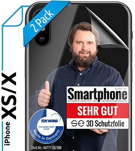 [2 Stück] 3D Schutzfolien für die Rückseite kompatibel mit iPhone XS & X [Made in Germany - TÜV Nord] - Transparent - Selbstheilend - Bildschirmschutz - kein Glas sondern Panzerfolie TPU
