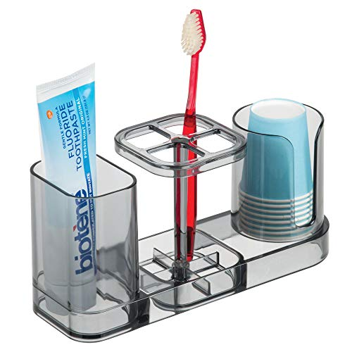 mDesign Plastic Bathroom Vanity Countertop Dental Storage Organizer Holder Stand for Electric Spin Toothbrushes/Toothpaste with Compartment for Rinse Cups - Compact Design, BPA Free - Smoke Gray