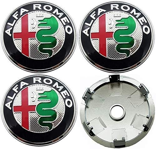 Modificado Coche Cubierta de la Rueda de 4pcs 60mm de Aluminio ABS Cubo de Rueda tapacubos Centro Tapas Insignia del Emblema de Alfa Romeo Mito 147 156 159 166 Giulietta Mito araña GT Stelvio, Nombre