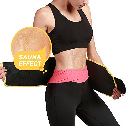 LEOPAX Waist Trimmer Belt Slimming Neoprene Ab Belt Trainer for Faster Weight Loss, Stomach Fat Burner Wrap Tummy Control/Belly Tummy Yoga Wrap Back Exercise Body Slim Look Belt 84 cm Size - Yellow