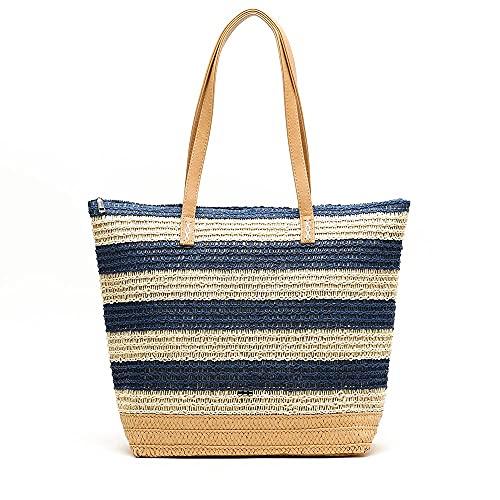 MISAKO Bolso Rafia Mujer RALLI | Bolso Grande para Playa Blanco Azul a Rayas con Cremallera | Bolso Shopper XXL para Verano de Mujer - 34x45x14cm