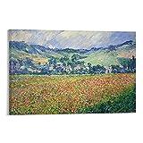 Póster de pintor francés Claude Monet Un campo de amapolas cuadro decorativo lienzo arte de la pared de la sala de estar carteles pintura dormitorio 20 x 30 cm