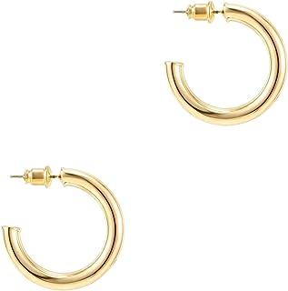 PAVOI 14K Gold Plated Hoop Earrings For Women | 3.5mm Thick Infinity Gold Hoops Women Earrings | Gold Plated Loop Earrings For Women | Lightweight Hoop Earrings Set For Girls