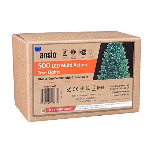 ANSIO Árbol de Navidad Luces 500 LED 12,5m Azul y Blanco br