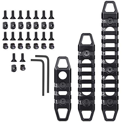 West Lake Keymod Picatinny Rail Sections, 3-Slot 7-Slot 11-Slot, Solid Aluminum Single M-LOK Keymod Dual Compatible Multi-Functional Rails (Black)