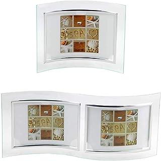 2xBild 10x1... Geschwungener gebogen  Glas Fotorahmen Bilderrahmen für 2 Fotos