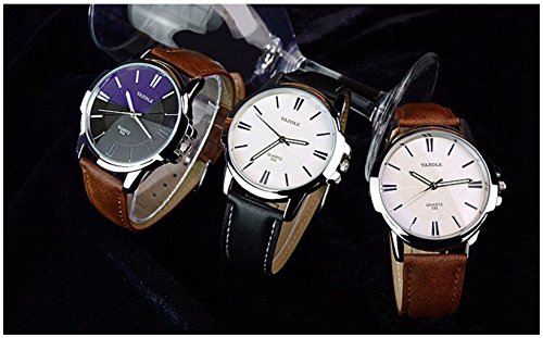 LinTimes Fashion Elegant Mens Watch Quartz Analog Business Leisure Wristwatch Brown Band White Dial