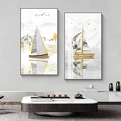 paglutaw Chino Estilo Lienzo Pintura Lujo Abstracto Oro Bote Cartel Impresión Paisaje Paisaje Pared Sala Sala De Estar Decoración Pared Carteles 16x24inch Inner_Framed