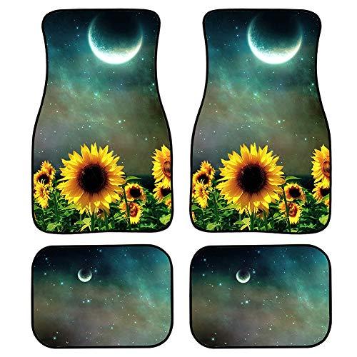 ZERODATE Sunflower Under Moon Print Vintage Floor Mat for Cars Vans Trucks SUVs Non Slip Rubber Backing 4 Pcs Set