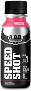 ABB Speed Shot Energy Drink with 250mg of Caffeine, Pre workout, L-Tyrosine, DMAE, Guarana, Ginseng, Green Coffee Bean Extract, Flavor: Watermelon, 12 Count