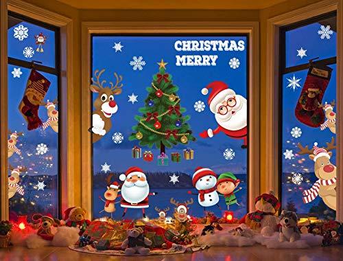 CMTOP Weihnachten Aufkleber Fenster Weihnachtsbaum Weihnachtsmann Elch Schneemann Abnehmbare Weihnachten Deko Wandtattoo Weihnachten Statisch Haftende PVC Aufkleber(12 Blatt)