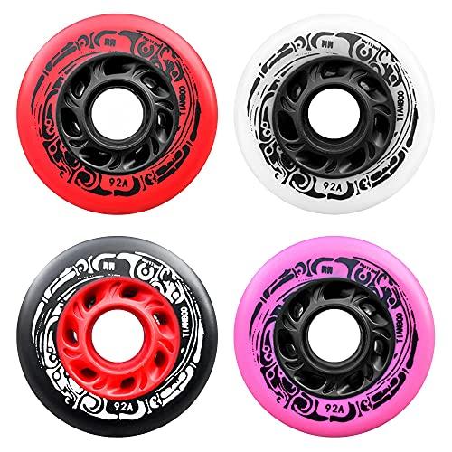 4 colores Mix Packs Rueda de skate en línea 92A Alto Rebote PU Rueda 72mm 76mm 80mm Rueda de repuesto para Slalom Freestyle City Skating 8 piezas, 76mm