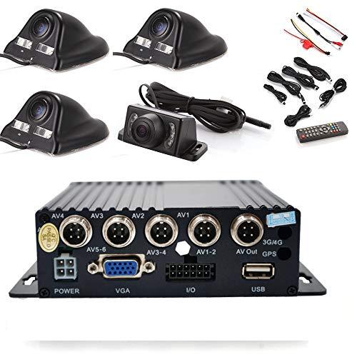 WeniChen Enregistreur vidéo / audio en temps réel 4 canaux 720p avec télécommande + 4 caméras CCD Sony étanches (Noir) + 4 câbles pour boîte noire de voiture Système de surveillance de sécurité 360°