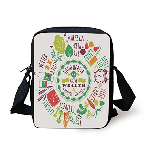 Fitness,Good Health is Above Wealth Wellness Motivation Water Fruits Fitness Walk Cereals Decorative,Multicolor Print Kids Crossbody Messenger Bag Purse