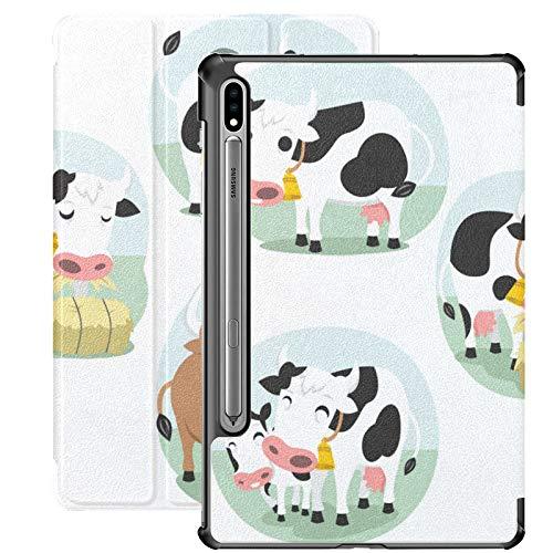 Galaxy Tablet S7 Plus Funda de 12,4 Pulgadas 2020 con Soporte para bolígrafo S, Juego de Vaca de Dibujos Animados S Funda Protectora Tipo Folio con Soporte Delgado y Adorable para Samsung