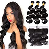 Gem Beauty Brazilian Hair Body Wave 3 Bundles With Lace Frontal Closure 100% Human Virgin Hair Bleach Knots Pre Plucked with Baby Hair (14 with 14 16 18, natural black)