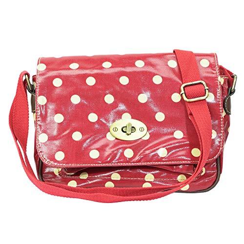 T & S , Damen Tornistertasche , Mehrfarbig - rot gepunktet - Größe: Medium