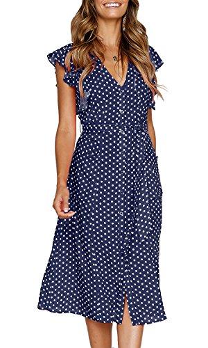 MITILLY Women's Summer Boho Polka Dot Sleeveless V Neck Swing Midi Dress with Pockets Medium Dark Blue
