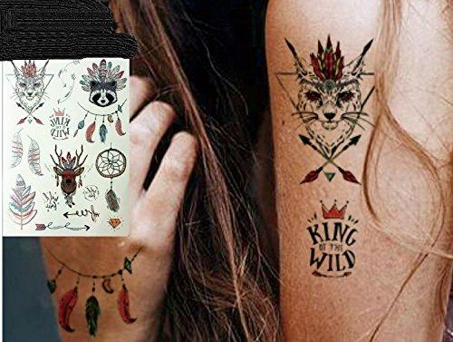 Metallic Tattoo Silver e disegno tatuaggi piuma acchiappasogni cervo Orsetto Lavatore Tattoo adesivo per corpo vt442