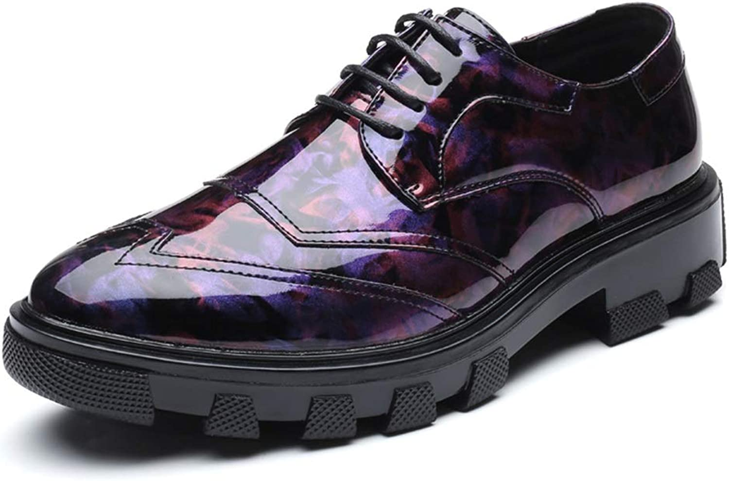 XHD-Men's shoes Fashion Comfortable Thick British Style Patent Leather Retro Brogue shoes Men's Business Oxford Casual shoes