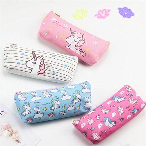 Bolsa de plumas Unicornio Paquete de cuatro productos Versión coreana Papelería de aprendizaje estudiantil Monedero multifuncional Bolsa de almacenamiento Regalo de cumpleaños para chicas