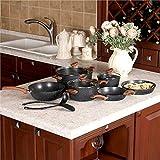 Kitchen Academy 12 Pieces Nonstick Granite-Coated Cookware Set, Black - Bakelite Handle