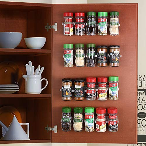 CAXXA 20 Clear Adhesive Spice Gripper Strip Clips with Extra Support, Spice Rack Dispenser, Kitchen Cabinet Holder, 4 Strips, Holds 20 Jars