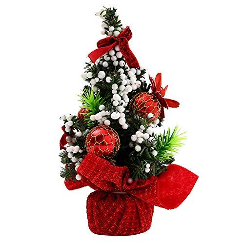 Herqw61 Árbol de Navidad de 20 cm Mini Árbol de Navidad Decoración de Navidad Árbol de Navidad con Set de adornos