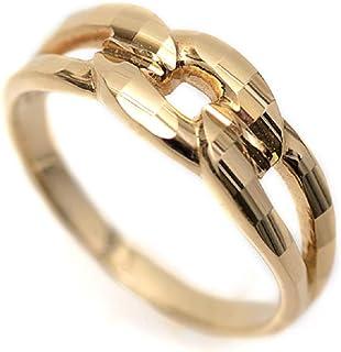 18金 リング 指輪 イエローゴールド キラキラ 多面カット 鎖 デザイン K18 リング (14号)