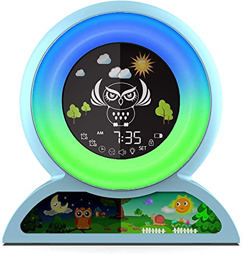 Wecker für Kinder, Nincee Kinderschlaftrainer für Kleinkinder, Wecklicht Wecker mit 5 wechselnden Farben, 7 Arten von Musik für Kinder Licht Wecker (Blau)