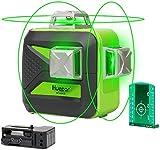Huepar 3 x 360 Kreuzlinienlaser mit Bluetooth, Umschaltbar Selbstnivellierenden Drei 360°-Laserlinie, Grüner 360 Grad Laser Level mit Bluetooth-Verbindungsfunktion, Sichtbarkeit Einstellbar - 603CG-BT