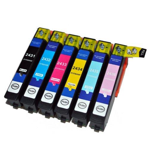 6x Compatible T2438, set per Epson 24LX alta capacità cartucce d' inchiostro compatibili per Epson Expression Premium XP-750, XP-850stampante a getto d' inchiostro per 24(Elephant) Series. T2431T2432T2433T2434T 2436con chip e indicatore livello di inchiostro.